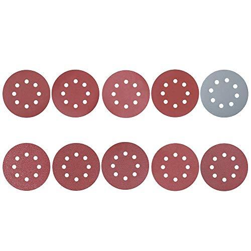 100 Stück Schleifscheiben, 125mm 8-Loch-Schleifpapier Orbitalschleifer-Pads,Schleifpapier rund 80/180/240/320/400/800/1000/1500/2000/3000 Körnung