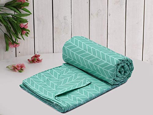 MORADO® Glace Cotton Single Bed Quilt Cover / Duvet Cover / Rajai Cover / Blanket Cover with Zipper (60 X 90 Inch, Green)
