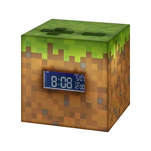 Paladone Minecraft Wecker mit offizieller Sonnenaufgangsmusik, braun / grün, 13 x 13, PP6733MCF