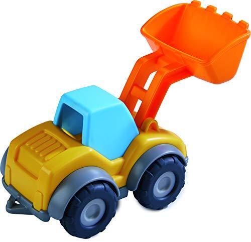 HABA 305181 - Spielzeugauto Radlader, Bagger für Kinder ab 2 Jahren für drinnen und draußen, Baustellenfahrzeug 13 cm mit Schaufel zum Transportieren und Abladen