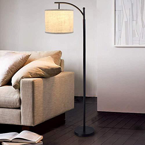 Depuley - Lámpara de pie de metal negro y pantalla de lino para dormitorio salón interior, diseño nórdico y moderno con interruptor de pie de 1,5 m de alto, incluye bombilla E27 LED