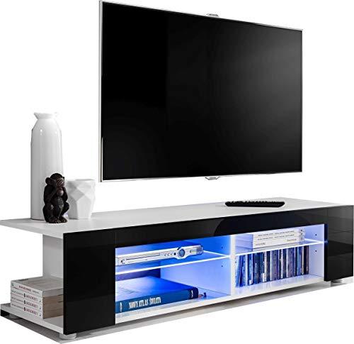 ExtremeFurniture T37 Meuble TV, Carcasse en Blanc Mat/Façade en Noir Brillant sans LED