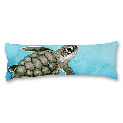 UTF4C Watercolor Blue Sea Turtle Cotton Polyester Linen Body Pillow Covers Cases with Double Sided 20'x54',Pillow Cases with Zipper for Pregnant Women