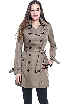 BGSD Women's Viv Waterproof Hooded Mid Length Trench Coat - Taupe M by