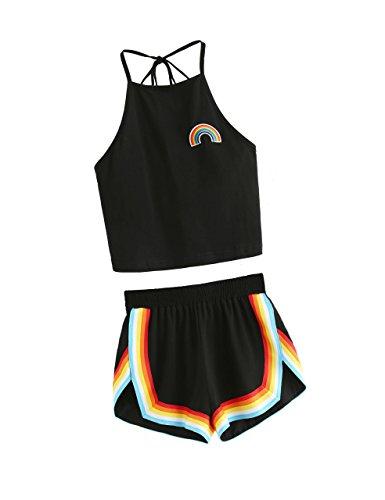 SweatyRocks Women's 2 Piece Set Halter Crop Top and Shorts Set Black L