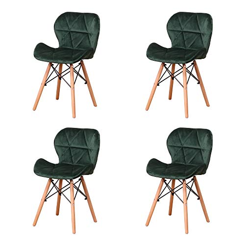 luckeu 4er Set Esszimmerstühle, Flanellradar Retro Stuhl Esszimmer Küche Schlafzimmer Bürostuhl (Dunkelgrün)