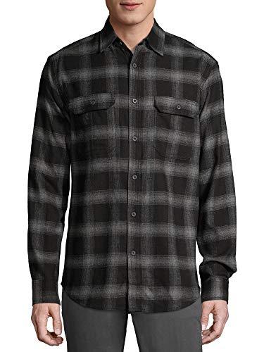 George Clothing Men's Long Sleeve Flannel Shirt (Black Plaid, X-Large 46/48)