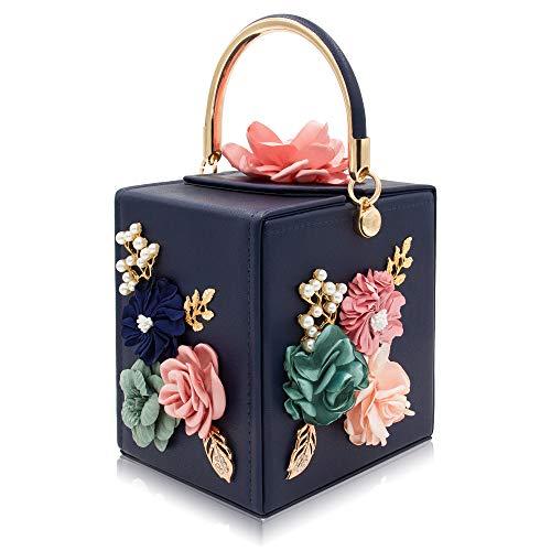 Milisente Evening Clutch Bag for Women Floral Square Box Evening Bags Crossbody Shoulder handBags Flower Wedding Clutch Purse(Blue)