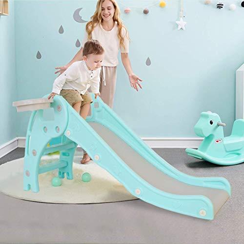 YLLN First Slide, toboganes Plegables Independientes para niños, Escalador y Juego de toboganes con aro de Baloncesto, tobogán Infantil de plástico multifunción para Interiores y Exteriores (Verde)