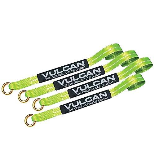 VULCAN Exotic Car Rim Tie Down Set - 2 Inch x 144 Inch, 4 Straps - High-Viz - 3,300 Pound Safe Working Load