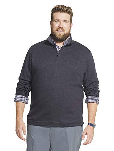 Geoffrey Beene Men's Big & Tall Big Long Sleeve Stretch Twill 1/4 Zip Pullover, Black, 4X-Large Tall