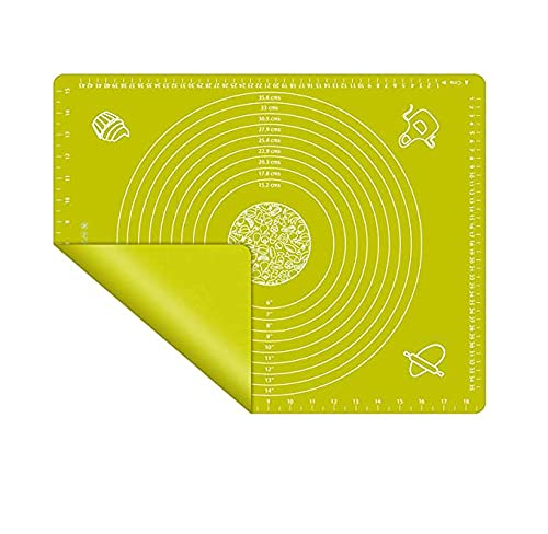 Silicone Baking Mats, Multi-Purpose Food Grade Silicone Placemat, Non Stick Silicon Liner for Bake Pans, for Making Macarons, Pastry, Pizza, Bread (small, green)