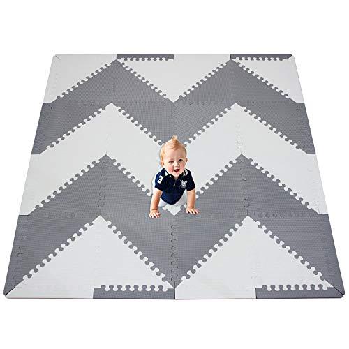 XMTMMD Doux Tapis de Jeu pour Enfants Pur Couleur EVA Dalles Mousses Tapis de Puzzle Tapis de Sol Mousse Dalles de Sol (32 Triangles, Blanc & Gris ) AMP050Z3512HUI