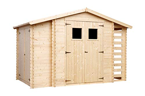 TIMBELA Holzhaus Gartenhaus mit Brennholzschuppen M389+M389G - mit Boden Imprägnierte B328xL206xH218 cm/ 3,53 + 0,97 + 0,97 m2 Lagerschuppen für Garten - Fahrrad Schuppen - Wasserfestes Dach