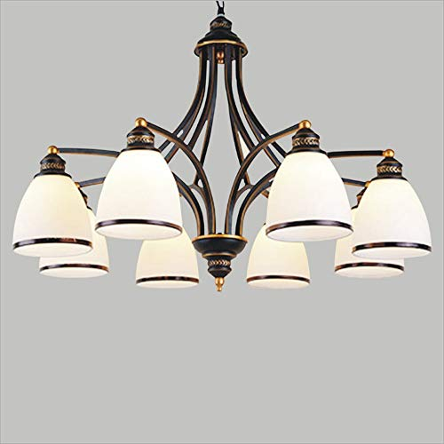 Lighfd Land grote kroonluchters Iron 8 Lights Rust Arms for Dining Slaapkamer Woonkamer Badkamer Bruin Bronze Lamp Chain Alabaster Opknoping Glazen hanglamp
