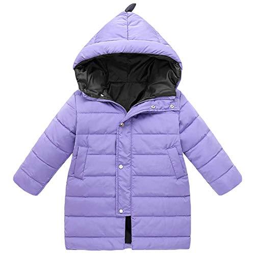 AMIYAN Junge Mädchen Dauenmantel Winter Mantel Lang Winterjacke Dicke Warm Steppmantel Dinosaurier Reißverschluss Kapuzenjacke Outfit 3-9 Jahre, Lila, 100