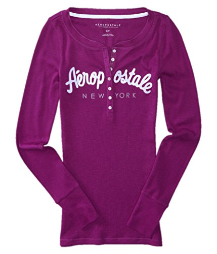 AEROPOSTALE Womens Bling Sequin Thermal Henley Shirt Small Purple