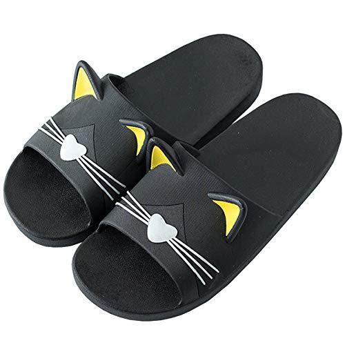 Chanclas Hombre Respirable Pantuflas Piscina Verano Mujer Antideslizantes Sandalia Casa Suave Zapatos Baño Interiores Zapatillas Ducha Negro 39/40