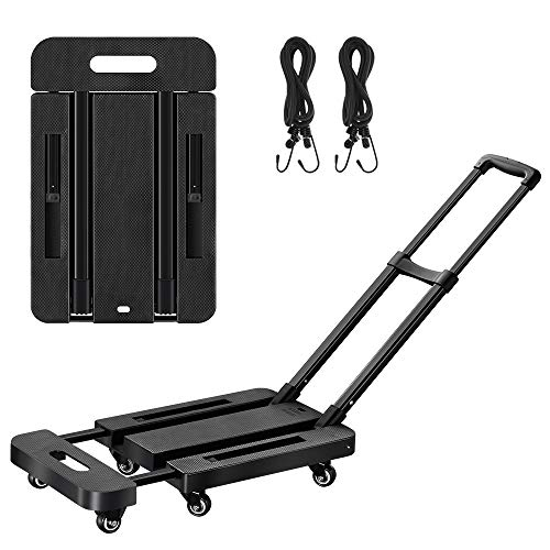 Lemonda 6 Wheels Folding Hand Truck with 2 Elastic Ropes,400lbs Heavy Duty Luggage Cart,Utility Dolly Platform Cart for Car House Office Luggage Moving