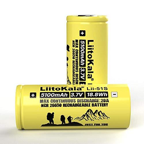 2Pcs 26650 20A Batería de Litio Recargable 26650A, 3.7V 5100Ma.Adecuado para Linterna