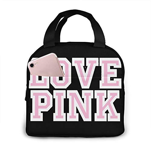 skahg Victoria Secret Love Pink Reusable Insulated Lunch Bag Cooler Tote Box Meal Prep for Men & Women Work Picnic Or Travel