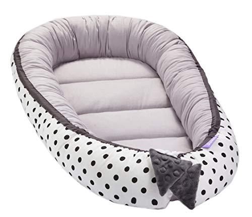 Solvera Ltd - Nido para bebé de 2 caras, coco, ecológico, para recién nacidos, 100% algodón, suave y seguro, 50 x 90 cm gris Dots/Grau