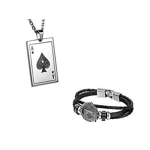Jewelrywe Schmuck Halskette mit Anhänger für Damen und Herren Kette Länge 55 cm Erhältlich in Poker J Edelstahl Silber (mit Geschenkbeutel), Leder,