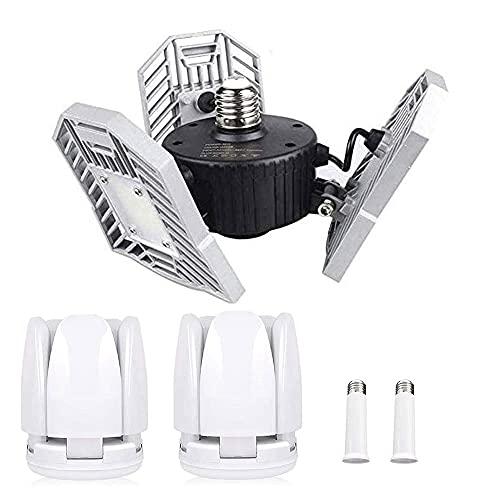 Tanbaby LED Garage Lights 2 Pack 80W (Plastic) Contain E26/E27 Garage Ceiling Light 60W (Metal) & 2-Packs Lamp Holders