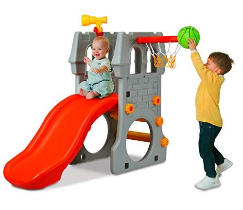 DREAMADE Spielturm Kinderrutsche mit Basketballkorb & Teleskopspielzeug & Fußballtor, Kletterturm Rutsche für Kinder von 3 bis 8 Jahren, für Garten Kindergarten Kinderzimmer