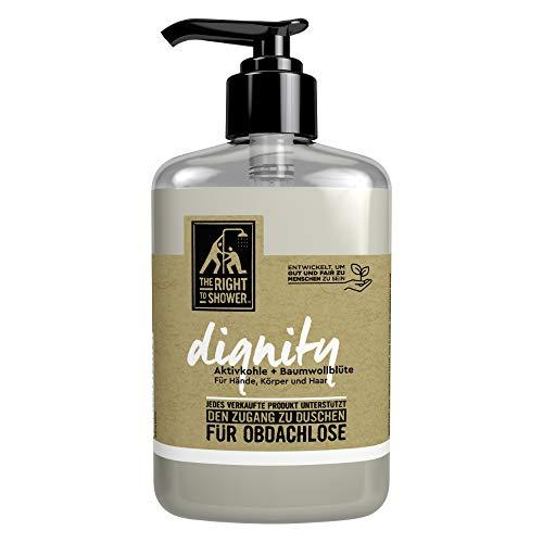 The Right To Shower Duschgel Dignity Duschbad für Hände, Körper und Haar mit Aktivkohle und Baumwollblüte 250 ml Flasche 250 ml