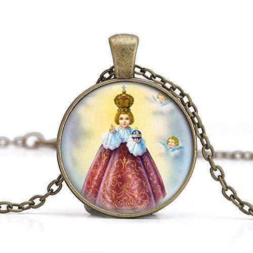 Collana con ciondolo a forma di Gesù di Praga. Medaglia cristiana cattolica. Charm Jewelry vetro foto gioielli