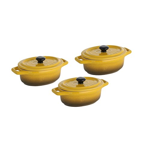 axentia Kasserolle 3er-Set Sorrel in Gelb - Schmorkasserolle 15cm oval - Bräter mit Deckel - Schmortopf backofengeeignet - Mini-Kasserolle für Mikrowelle - Keramiktopf ca. 0.2 Liter