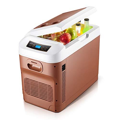 Raxinbang Mini Fridges 28L Dual-Core Pantalla Digital Control De Temperatura Vertical De Doble Uso 12V Coche / 24V Camión/Refrigerador Universal for El Hogar (Color : Brown)