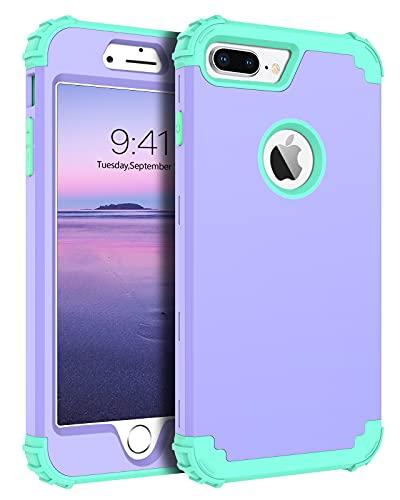 Bentoben - Cover per iPhone 7 Plus, 3 in 1, antiurto, resistente, con 3 strati in policarbonato durevole e silicone morbido per iPhone 7 Plus/8 Plus, colore: Viola