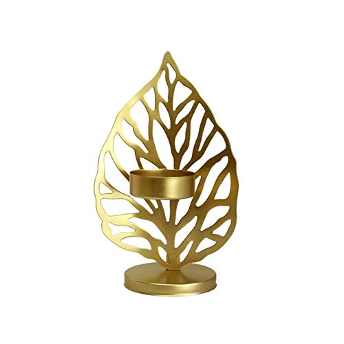 Candle Holders Leaf Shape Candle Stand Metal Iron Art Candlestick Holder For Home Living Room Desktop Decor Retro Decor Gifts - Gold  A,a5