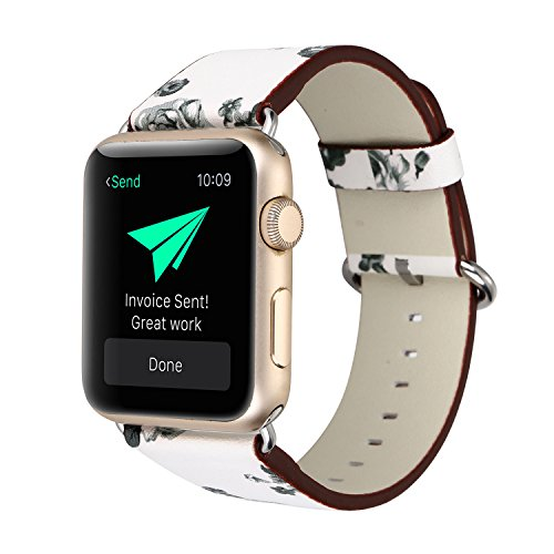 YOSWAN Bracelet for Apple Watch, National Black White Floral Printed Leather Watch Band 38mm 42mm Strap for Apple Watch Flower Design Wrist Watch Bracelet (White+ Gray Flower, 38mm)