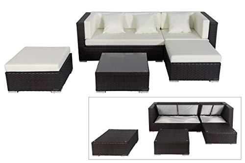 OUTFLEXX Loungemöbel-Set, braun aus Polyrattan-Geflecht, Loungeecke für 5 Personen, wasserfeste Kissenbox, inkl. Kaffeetisch