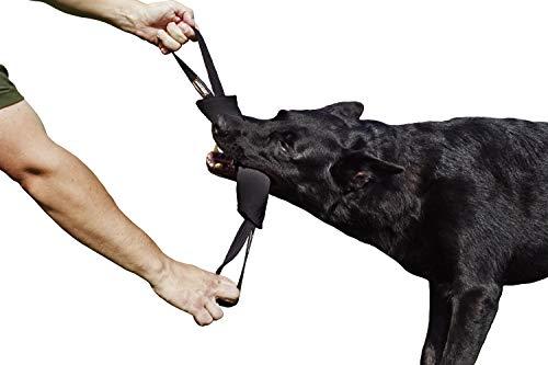 Dingo Gear Baumwolle-Nylon Beißwurst für Hundetraining K9 IGP IPO Obiedence Schutzhund Hundesport, mit Zwei Griffen 7 x 28 cm Schwarz S00074