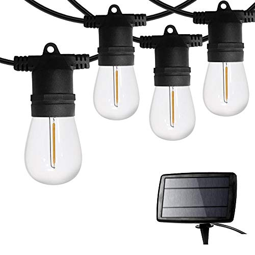 SUNTHIN 48ft Solar Powered String Light with LED Shatterproof Bulbs for Yard, Porch, Garden, Fence Outdoor Use