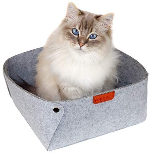 milnero FELIDA Katzenbett Grau aus Filz inkl. Einlegematte | Hochwertiger Schlafplatz für Katzen 30 x 30 x 15 cm