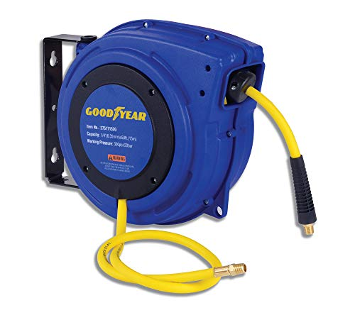 Goodyear Air Hose Reel Retractable 1/4 Inch x 50 Foot Premium Commercial Flex Hybrid Polymer Hose Max Heavy Duty Spring Driven Polypropylene Construction Lead-in Hose and PVC Handle