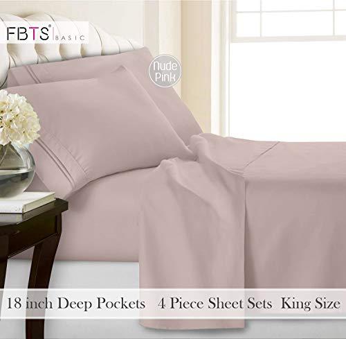 FBTS Basic Bed Sheet Sets Microfiber Sheets Deep Pocket 4 Piece Hypoallergenic (King, Nude Pink)