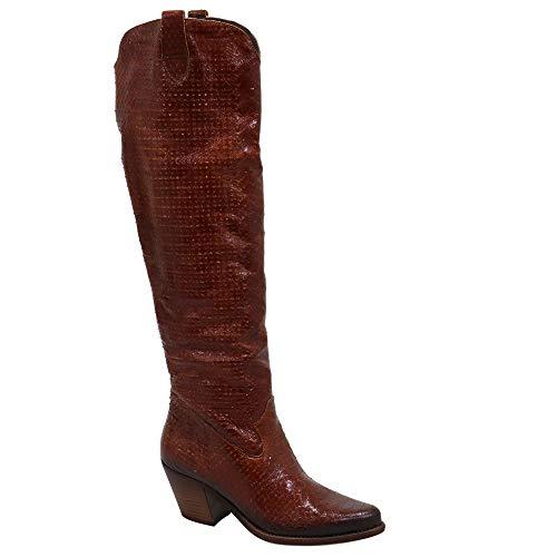 Felmini - Scarpe Donna - Innamorarsi Com Laredo C354 - Stivali Alti Cowboy & Biker - in Pelle Genuina - Marrone - 37 EU Size