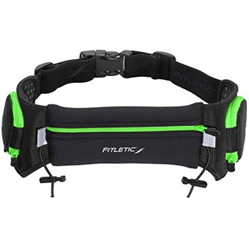 Fitletic Hiking Hydration Belt | Water Bottle Belt | Patented Retractable Zippered Holsters Fit Most Bottles 12-24 oz | Quench S/M Green & Black | HD20-6S