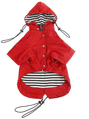 Ctomche Odzież dla psa zapinana na zamek płaszcz przeciwdeszczowy dla psa, wodoodporny, regulowany sznurek, zdejmowana bluza z kapturem płaszcz przeciwdeszczowy dla zwierząt domowych, kurtka dla psa z paskami odblaskowymi czerwony-L