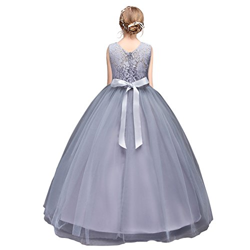 HUANQIUE Robe de Princesse Fille Mariage Demoiselle d'Honneur Taille Haute Dentelles Gray 170