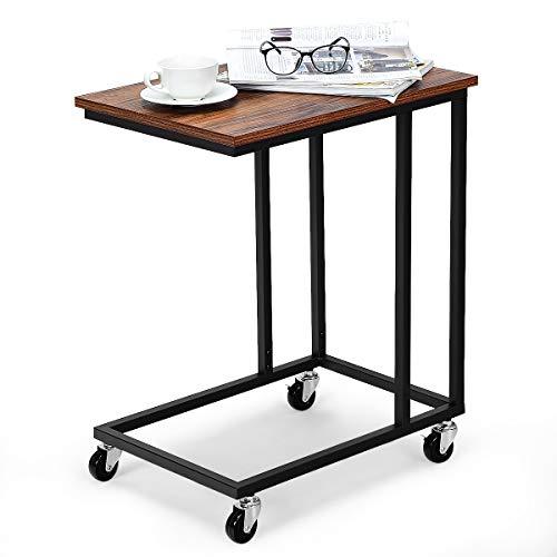 COSTWAY Beistelltisch mit Rollen, Sofatisch 50x35x61cm, Kaffeetisch Industrie-Design, Laptoptisch Metall, Couchtisch für Innen- und Außenbereich, Betttisch
