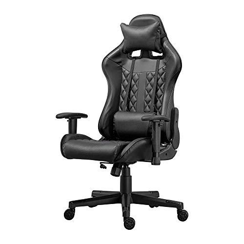 Sedia ergonomica da gioco da corsa con poggiatesta schienale lombare supporto schienale alto reclinabile sedia girevole regolabile per computer sedia in pelle PU Executive poltrona per studenti adulti