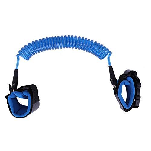 SALUTUYA Eslabón de algodón Seguridad Muñequera Correa de Seguridad para Caminar Correa para niños pequeños Hebilla de Cadena de Metal giratoria de 360º para supermercados(Blue)