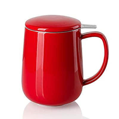 Sweese 204.104 Porcelain Tea Mug with Infuser and Lid, 20 OZ, Red